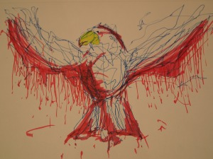 Red Bird of Betrayal ~ line drawing by Patrick O'Neill