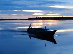 Sunset boat on Rio Negro
