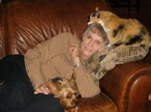 Random Photo #1 - My mom with Suki (aka Little Cat) and Bailey