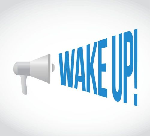 58471698 - wake up megaphone message. illustration design graphic